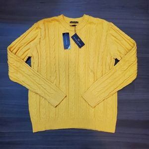 Club Room Sunny Yellow Cotton Cable Knit Sweater